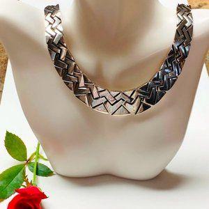 Heavy Taxco Fancy 925 Sterling Chain Link Collar